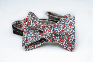 Blue & Red Japanese Cherry Blossom Silk Bow Tie Butterfly