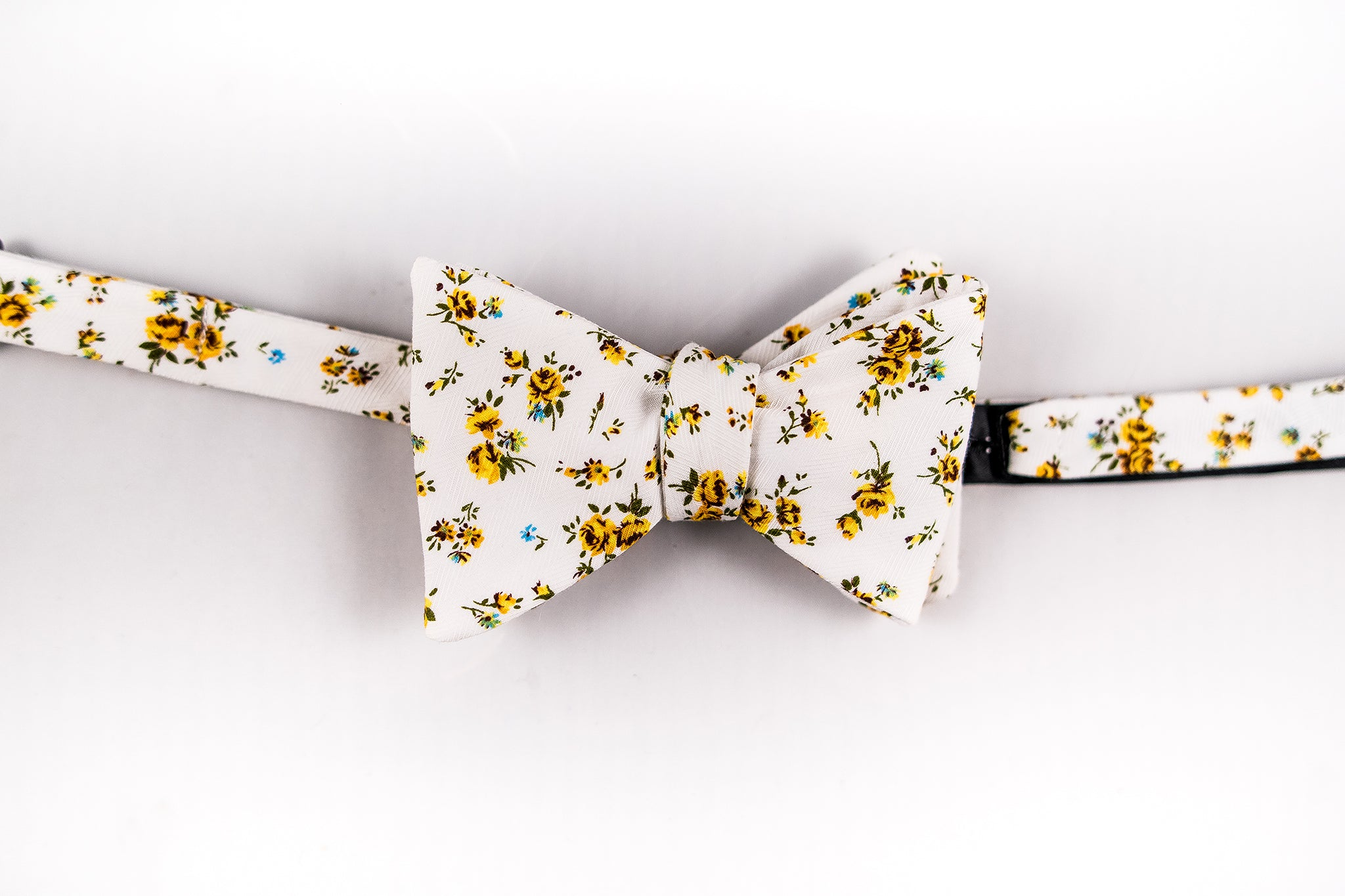 Yellow  Floral Cotton Bow Tie-Butterfly