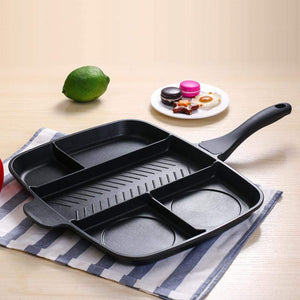 Ultimate-Frying-Pan 5 in 1 Divided-Grill-Skillet-non-stick-oven-meal-fry-multi-compartment-for-kitchen-color-black-multi-sections-for-any-meal