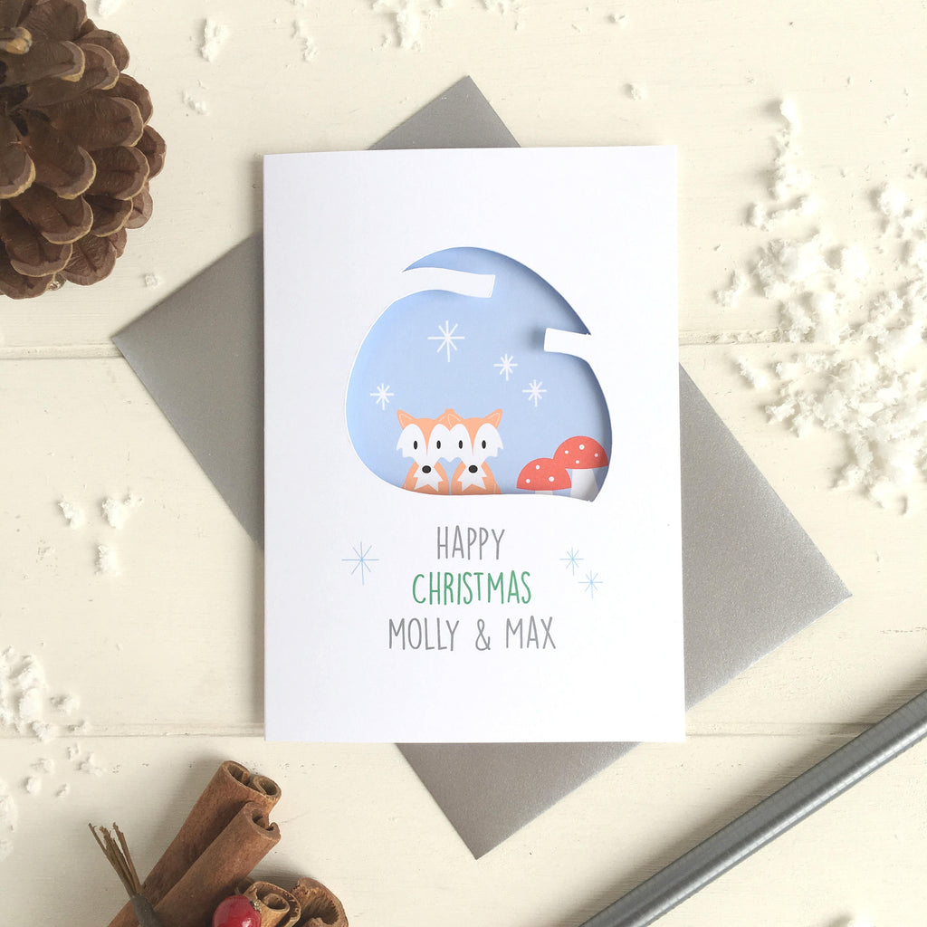 Couple's Woodland Christmas Card - Just Toppers
