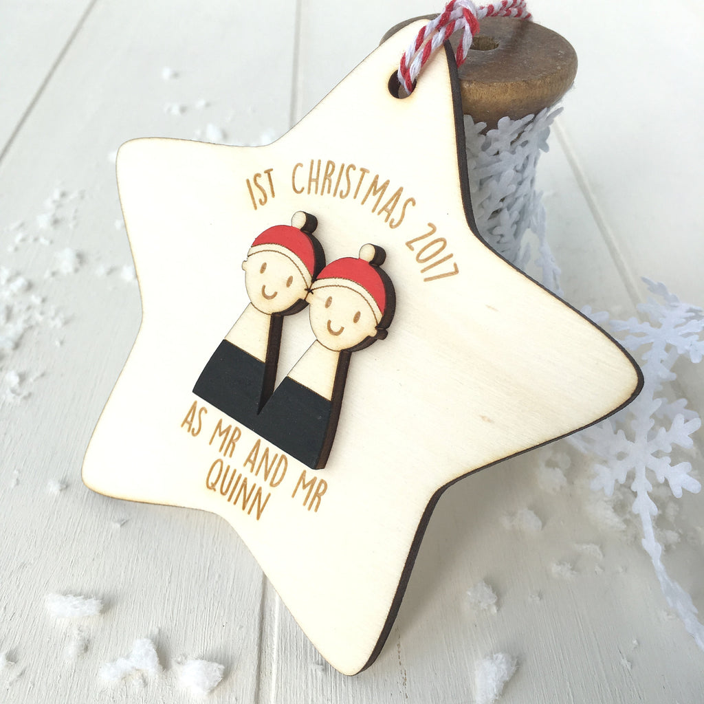 First Christmas as Mr and Mr Tree Decoration - Just Toppers