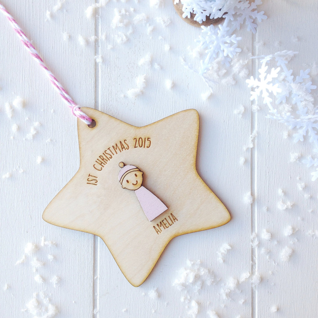 Baby Girl's First Christmas Decoration - Just Toppers