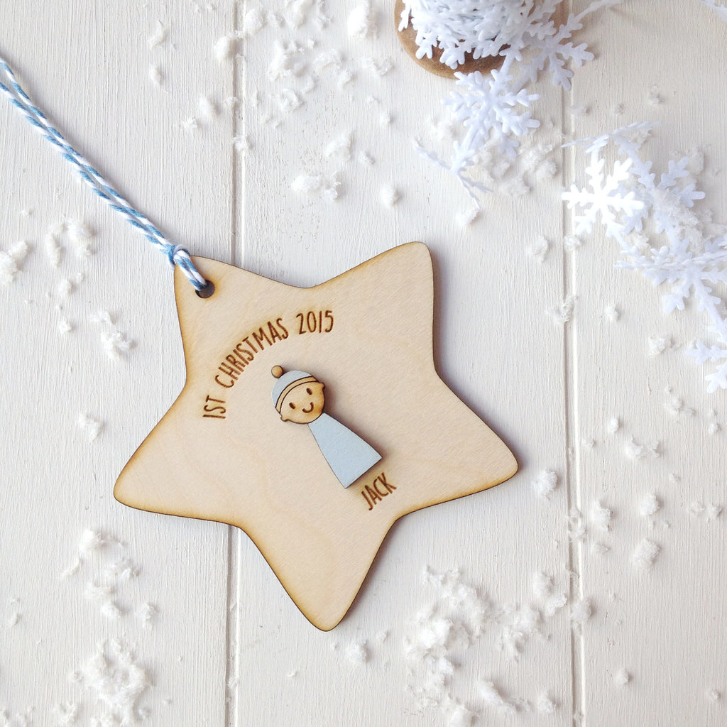 Baby Boy's First Christmas Decoration - Just Toppers