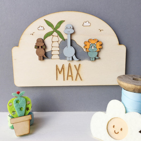 Dinosaur Door Plaque - Just Toppers