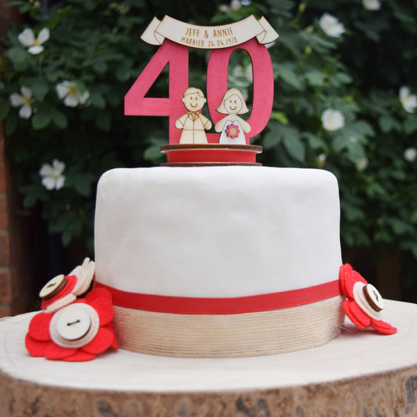 40th Wedding Anniversary Cake Topper - Just Toppers