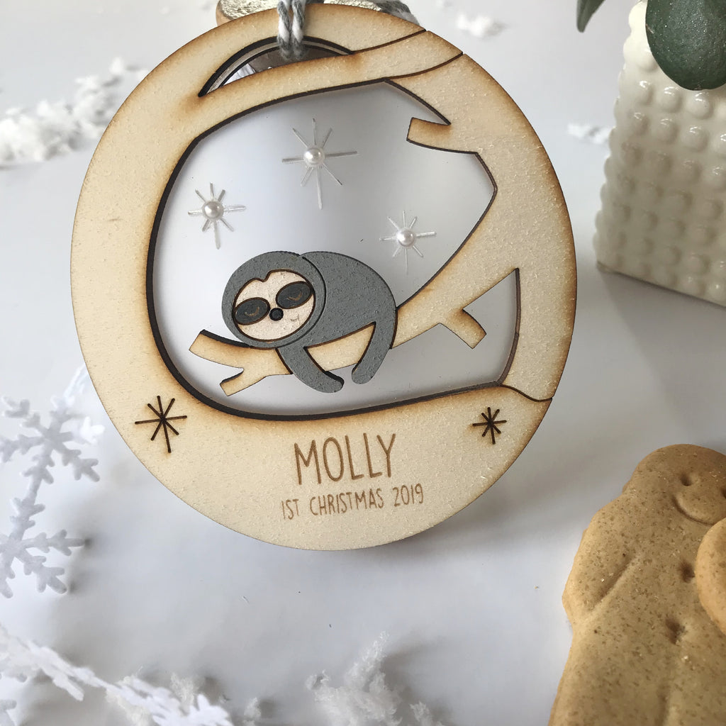 Baby's First Christmas Sloth Bauble - Just Toppers