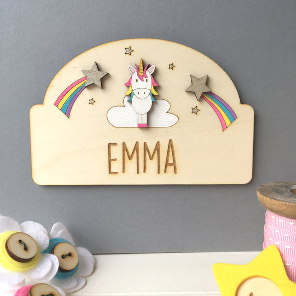 Unicorn Door Plaque - Just Toppers