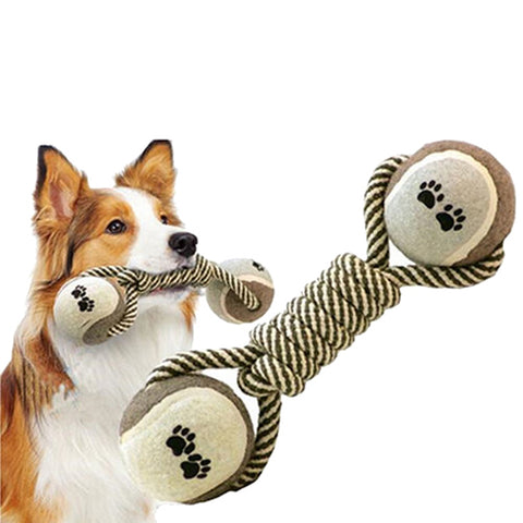 Dog Dumbbell Rope and Tennis Ball for Teeth Cleaning