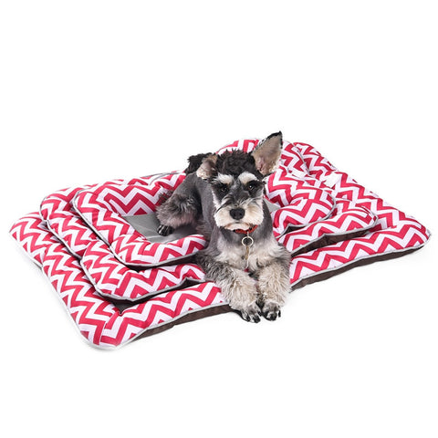 Pawz Road Super Cool Ice Silk Material Stripe Pattern Pet Cushion[Pink