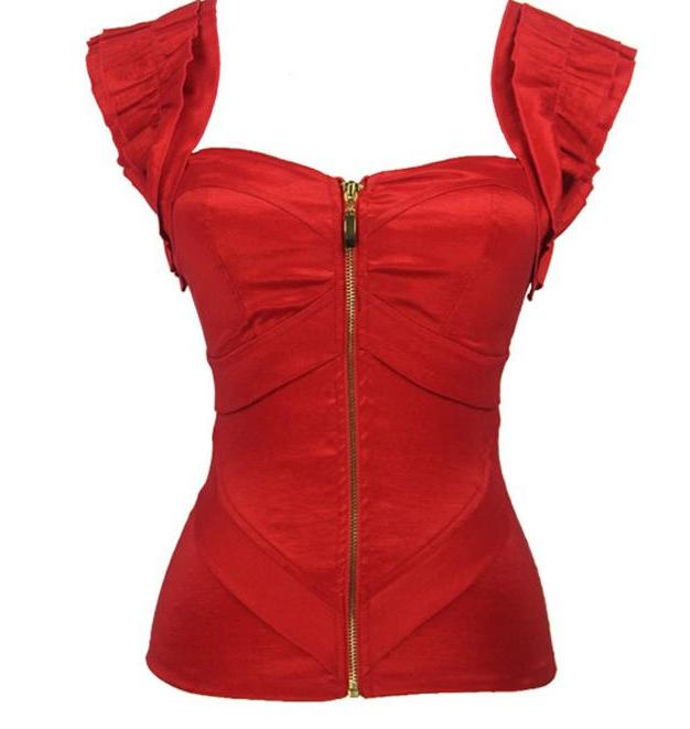 Red Satin Push-Up Corset - Madiani Boutique