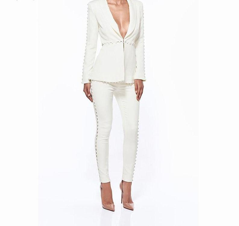 Jacket+Pants white Women's safari style Business Suits Blazer Female Office Formal Trouser Pant Suits  HB5243