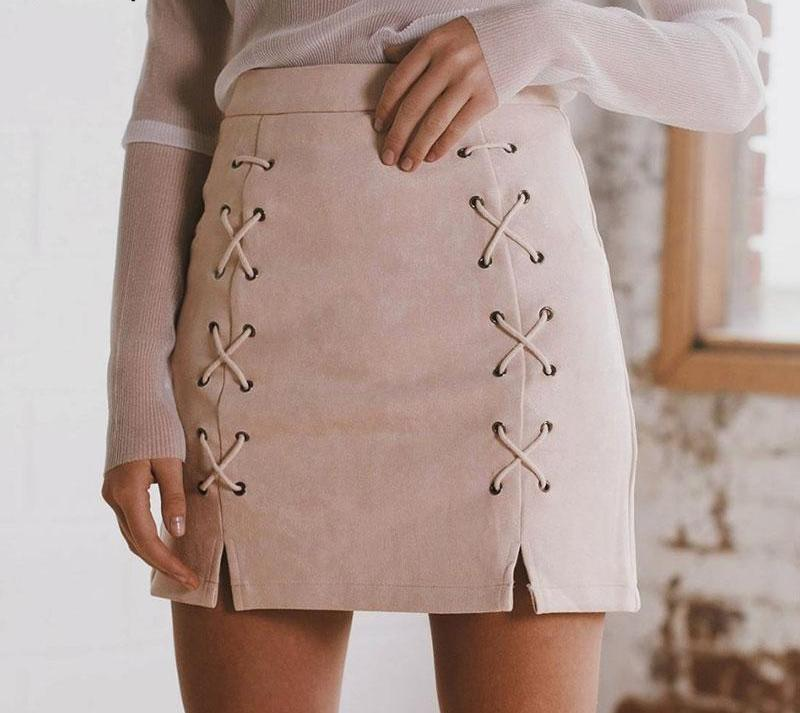 Vintage lace up leather suede pencil skirt - Madiani Boutique