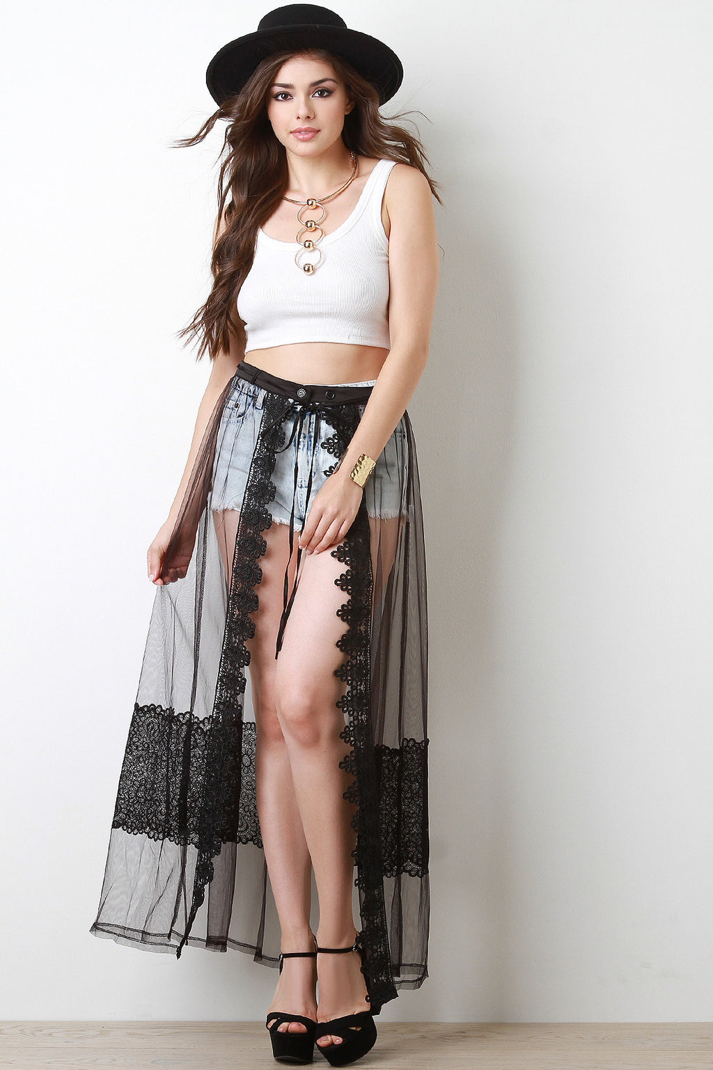 Scallop Lace Trimmed Mesh Cover-Up Maxi Skirt - Madiani Boutique