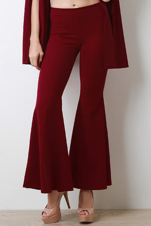 High Waisted Back Slit Bell Bottom Pants