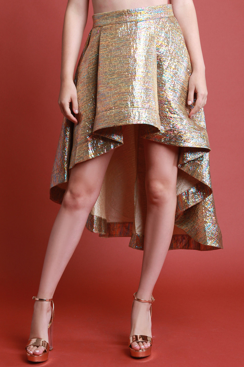 Rainbow Metallic A-Line High Low Skirt - Madiani Boutique