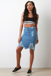 Zip Up Distressed Denim Midi Skirt - Madiani Boutique