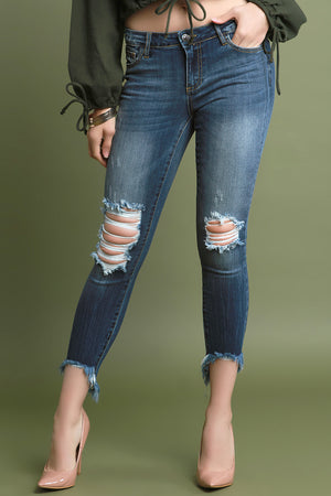 High Low Frayed Hem Distressed Denim Jeans