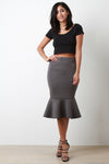 Scuba Knit High Waisted Peplum Hem Skirt - Madiani Boutique