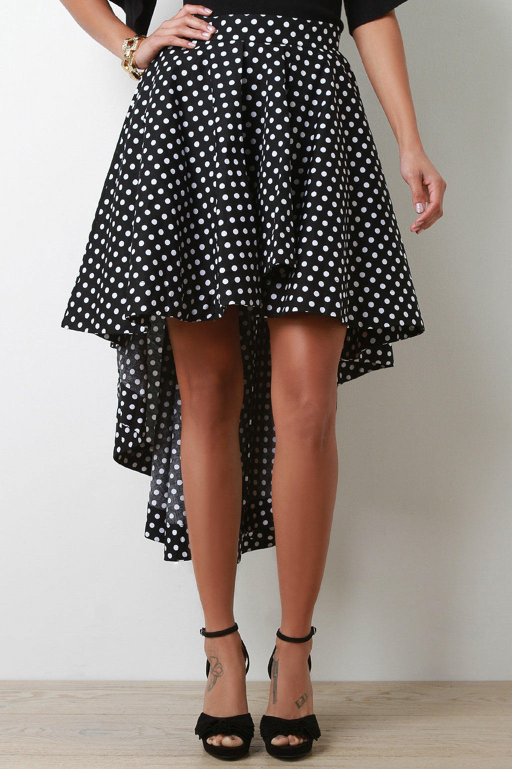 Polka Dot A-Line High Low Skirt - Madiani Boutique