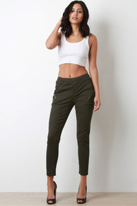 Zipper Trim Mid Rise Skinny Pants - Madiani Boutique