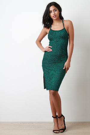 Glitter Cami Slit Bodycon Midi Dress