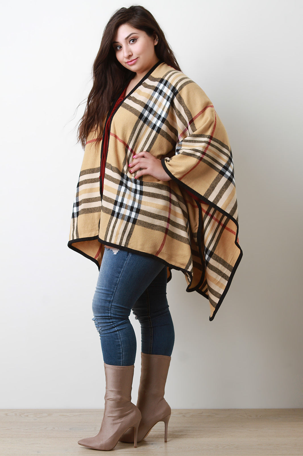 Plaid Pattern Open Front Poncho - Madiani Boutique