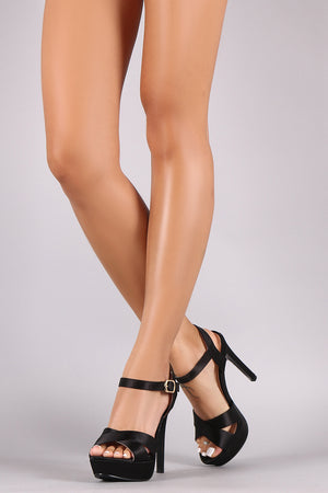 Satin Crisscross Peep Toe Ankle Strap Stiletto Platform Heel - Madiani Boutique