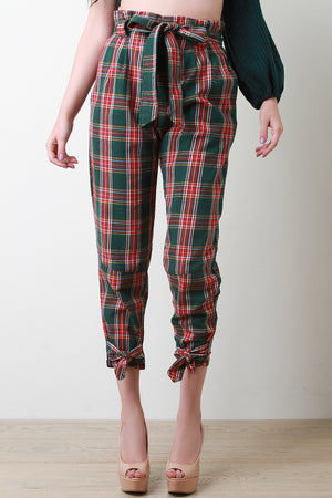 Plaid Cinched Bow-Tie High Waisted Pants - Madiani Boutique