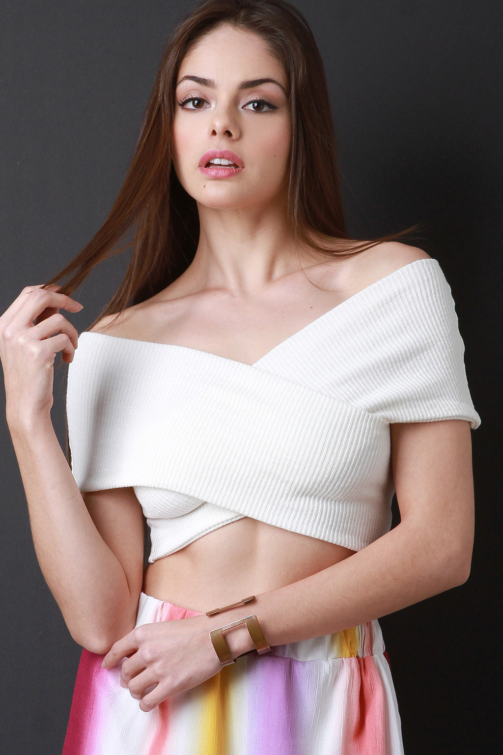 Ribbed Knit Crisscross Bardot Crop Top - Madiani Boutique