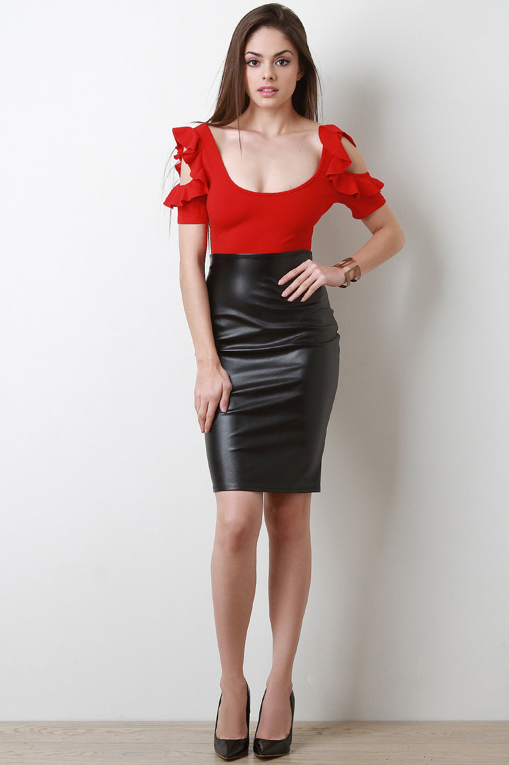 Vent Slit Vegan Leather Pencil Skirt - Madiani Boutique