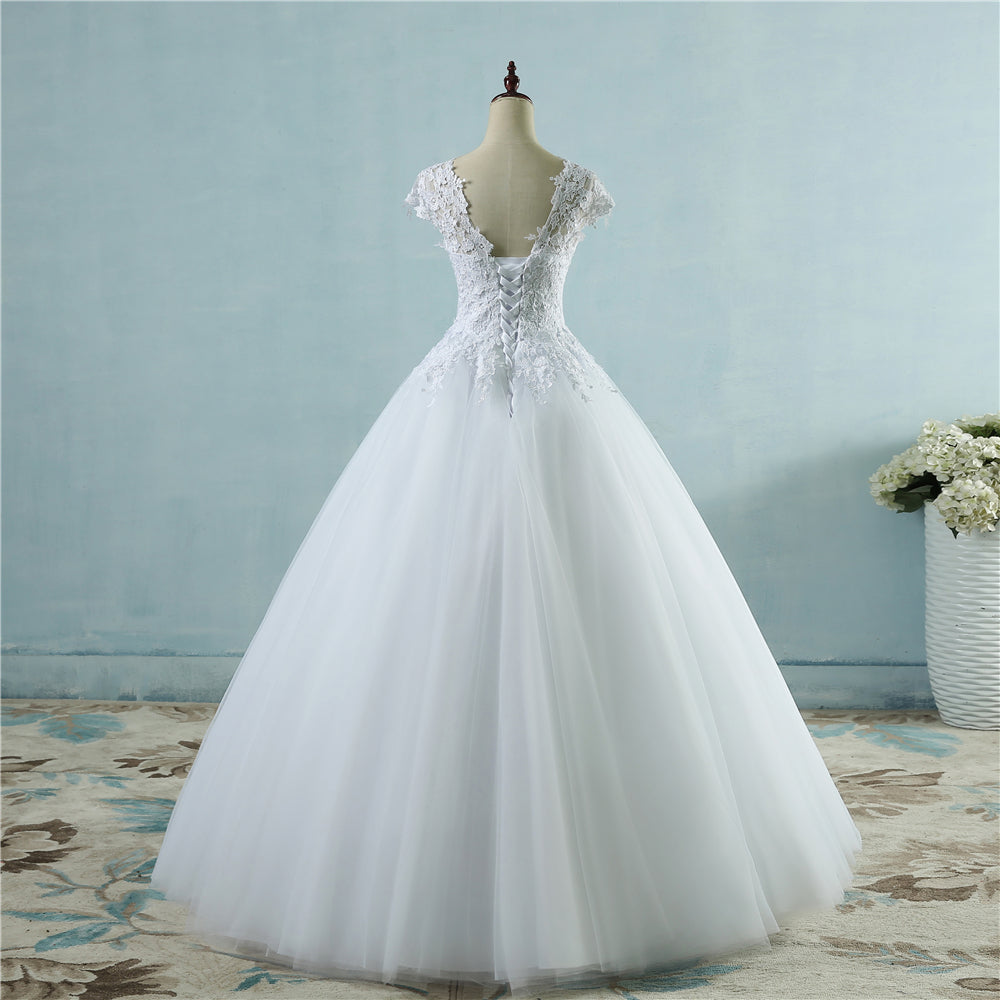 lace Ivory Short Sleeve Wedding Dress Vintage plus size – Madiani ...