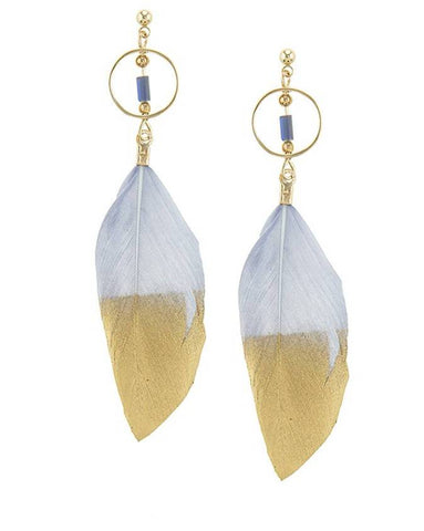 Gray & Gold Feather Drop Earrings Spocket App