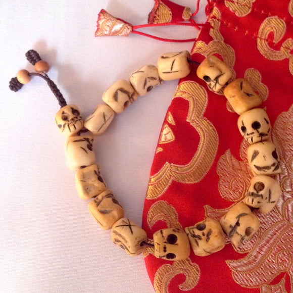 Skull Carved Bone Wrist Mala - Natural Healthy & Wonderful