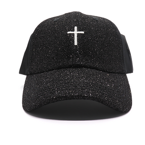 Cross Glitter Ponytail Hat