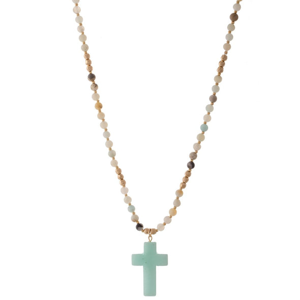 Semi Precious Beaded Cross Necklace