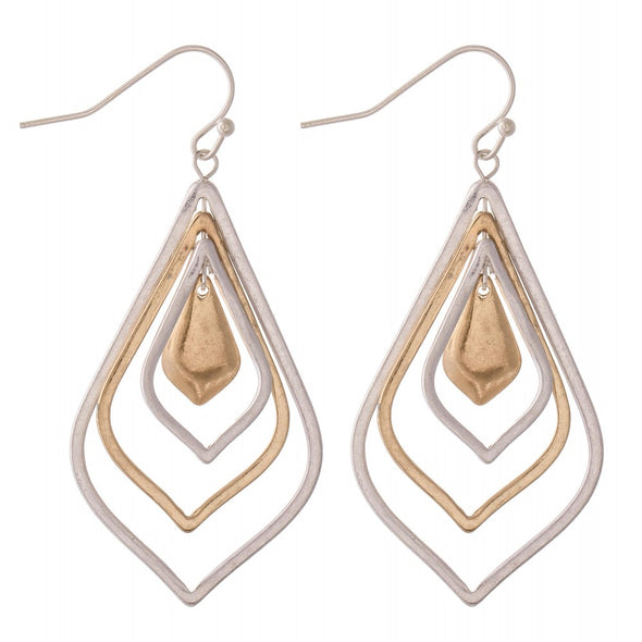 Two Toned Nested Moroccan Drop Earrings