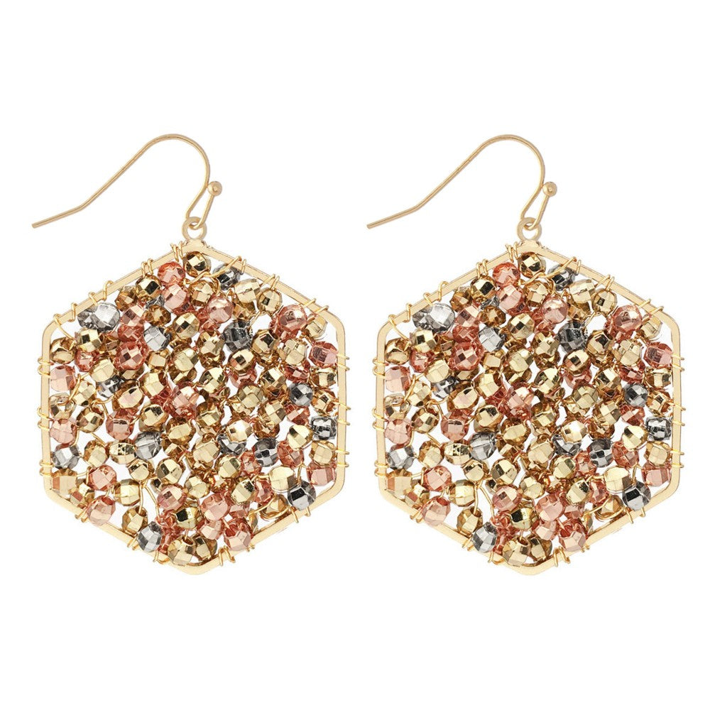 Beaded Filled Hexagon Drop Earrings