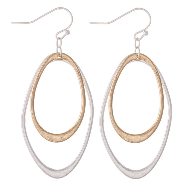 Two Tone Oval Dangle Earrings
