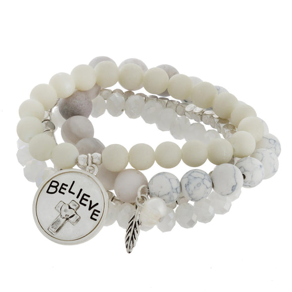 Believe Beaded Bracelet Set