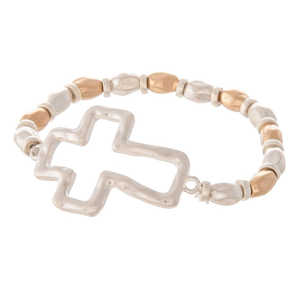 Two Tone Hammered Beaded Cross Stretch Bracelet