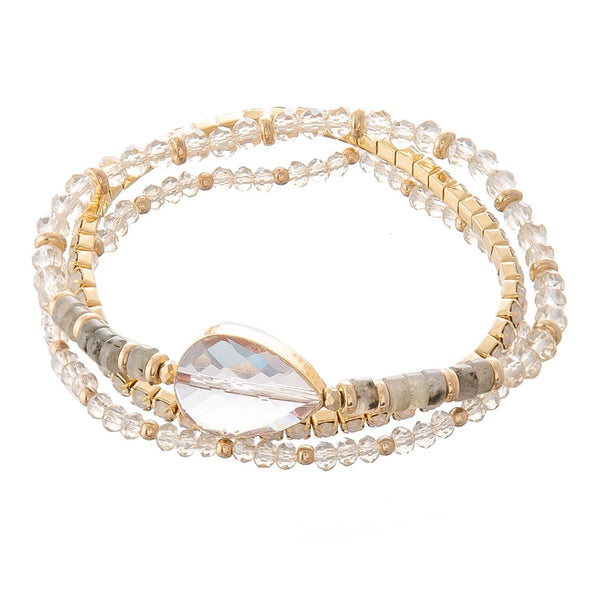 Semi Precious Beaded Crystal Stretch Bracelet Set