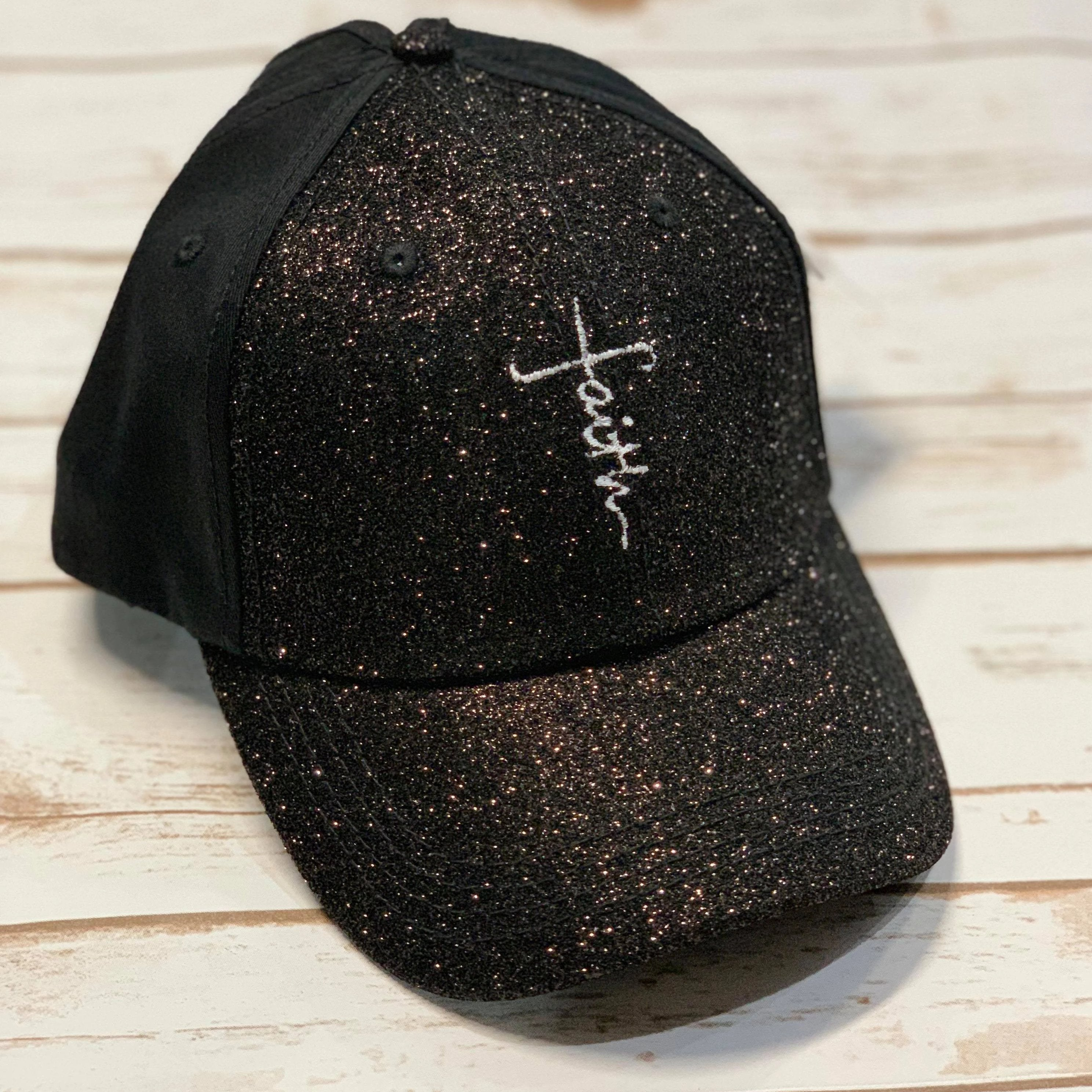 Faith Cross Glitter Cotton Ponytail Cap