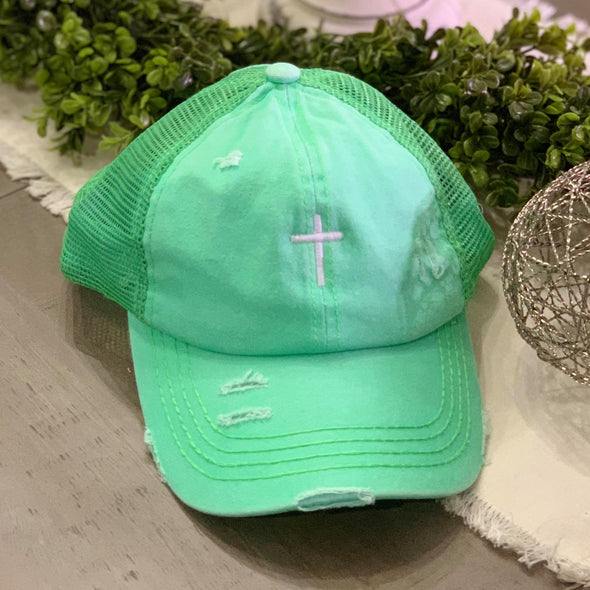 Cross Distressed Mesh Back High Pony CC Ball Cap