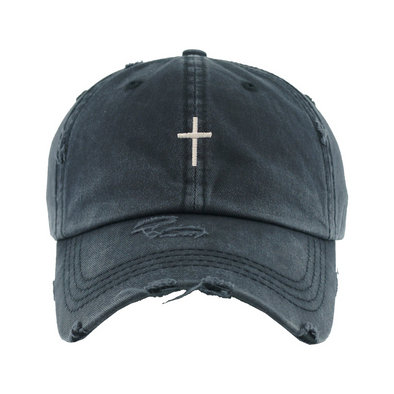 Vintage Ponytail Cross Hat Washed Black