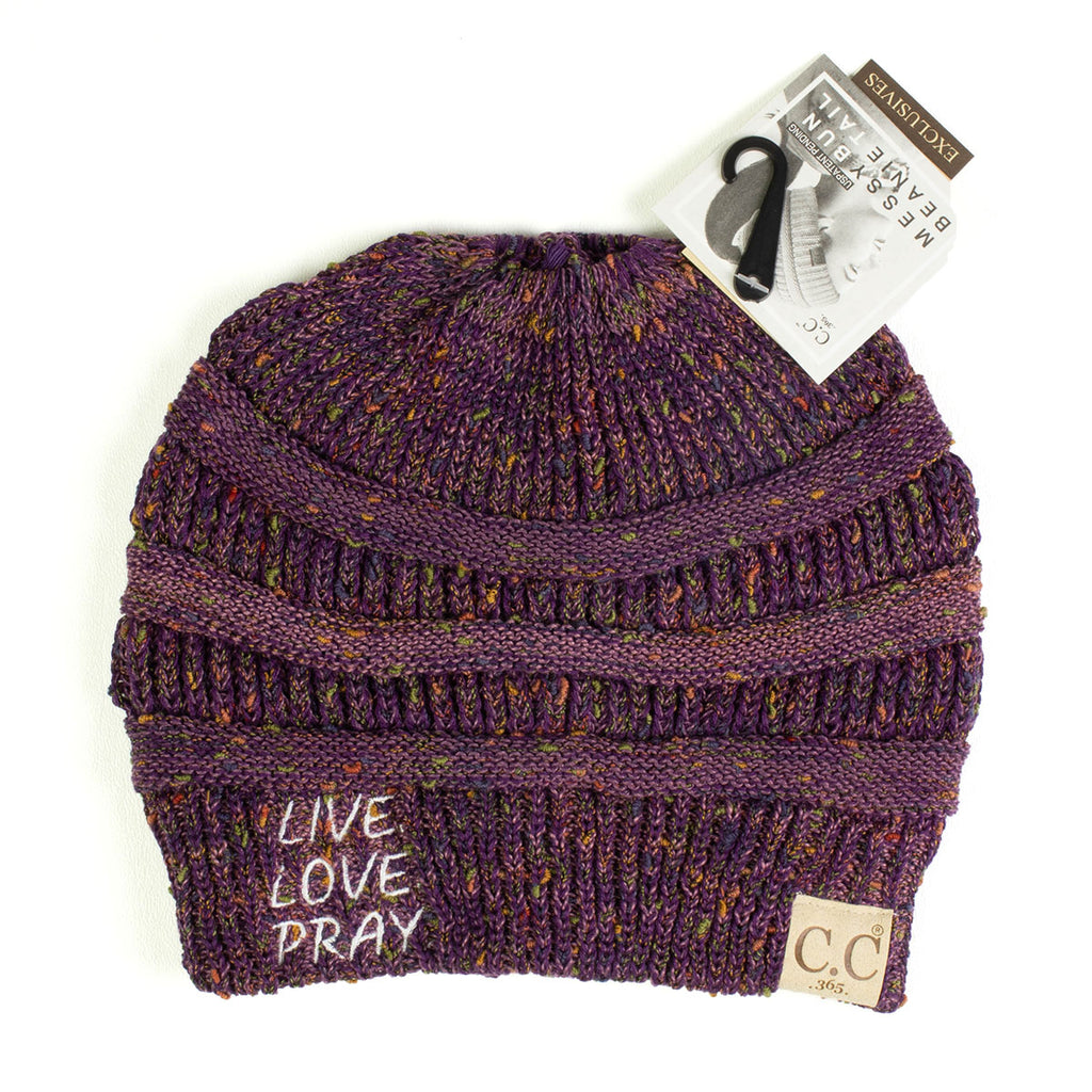 Live Love Pray Flecked CC Tail Beanie