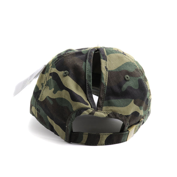 Blessed Cross Camo Classic Ponytail Hat