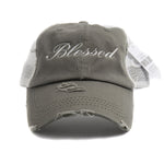 Blessed Vintage Mesh Ponytail Hat
