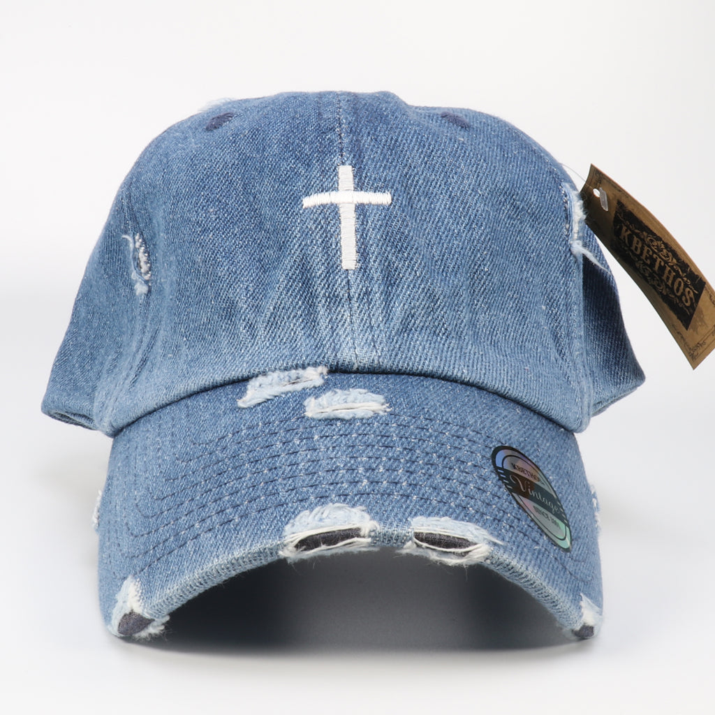 Cross Distressed Baseball Hat Adjustable Metal Closure-Denim