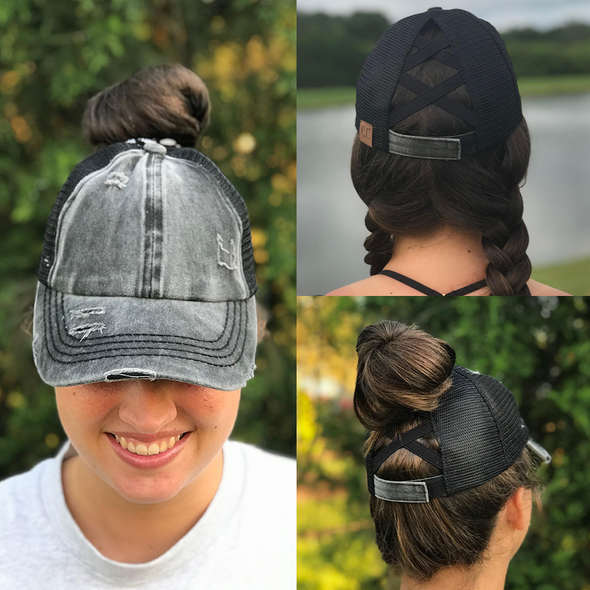 Washed Denim Criss Cross High Pony Ball Cap