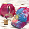 Cross Tie Dye High Ponytail Mesh Back CC Ball Cap